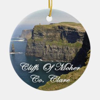 Acantilados de Moher Irlanda, ornamento del Adorno Navideño Redondo De Cerámica