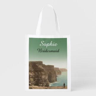 Acantilados irlandeses del favor del boda de los bolsa reutilizable