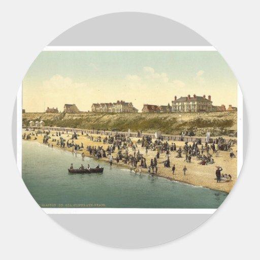 Acantilados y playa, vintage del Clacton-en-Mar, Pegatina Redonda