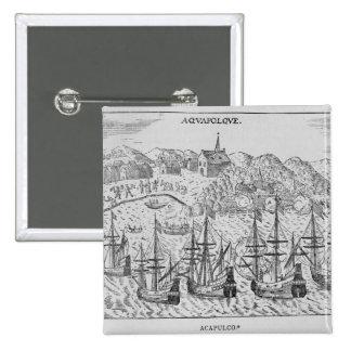 Acapulco', from Jean-Baptiste Labat 's Nouveau 2 Inch Square Button
