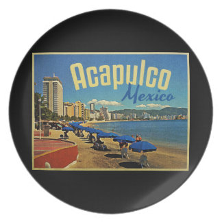 Acapulco Mexico Vintage Travel Dinner Plate