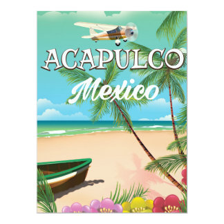 Acapulco Mexico Vintage travel poster Card