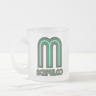 Acapulco Piped 10 Oz Frosted Glass Coffee Mug