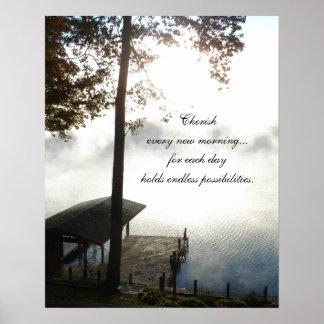 Acaricie cada mañana - lago de niebla impresiones