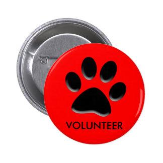 acaricie el refugio, rescate animal, insignia volu pin redondo de 2 pulgadas