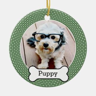 Acaricie la foto con el hueso de perro - lunares ornamento de navidad