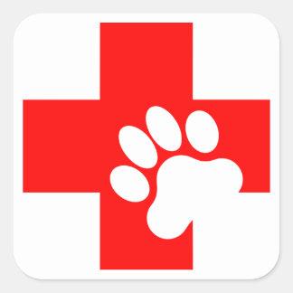 Acaricie las etiquetas de los primeros auxilios pegatina cuadrada