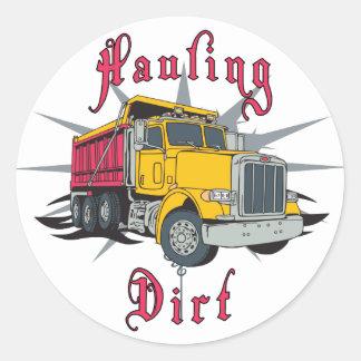Acarreo del camión volquete de la suciedad pegatina redonda