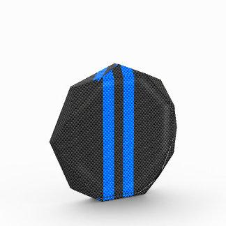 Accent Blue Carbon Fiber Style Racing Stripes Acrylic Award