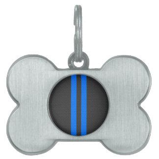 Accent Blue Carbon Fiber Style Racing Stripes Pet ID Tag