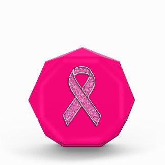 Accent Chrome Glitter Style Pink Ribbon Awareness Acrylic Award