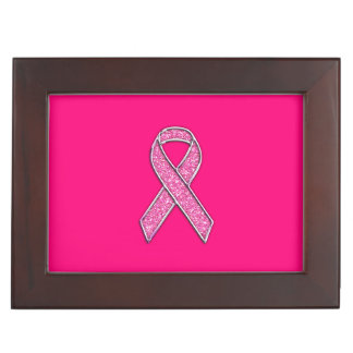 Accent Chrome Glitter Style Pink Ribbon Awareness Memory Box