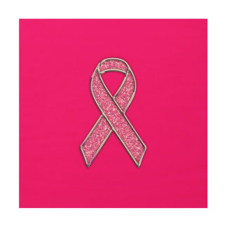 Accent Chrome Glitter Style Pink Ribbon Awareness Wood Print