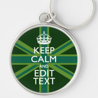 Accent Green Keep Calm And Your Text Union Jack Keychain
