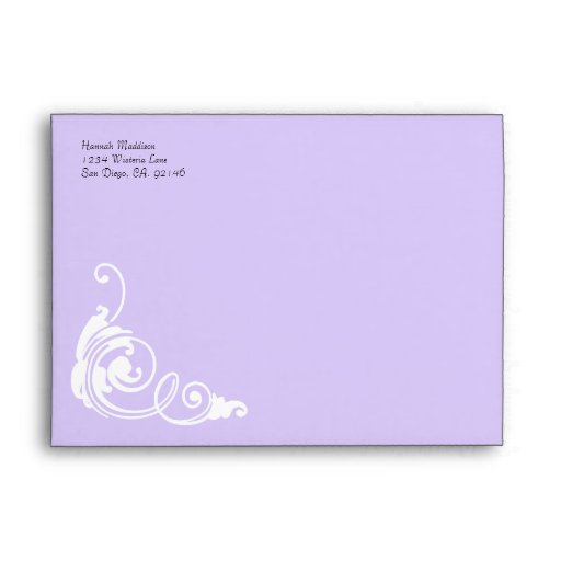 Accent Lilac Damask Print Custom A7 Envelopes