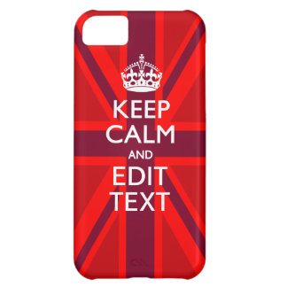 Accent Red Keep Calm Your Text on Union Jack Flag iPhone 5C Cover
