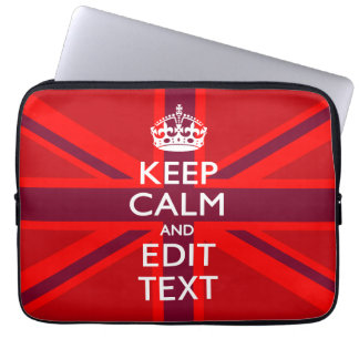 Accent Red Keep Calm Your Text on Union Jack Flag Laptop Sleeves