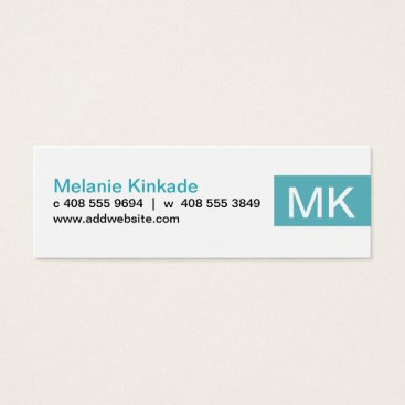 Professional Business Accent (Teal) Mini Business Card