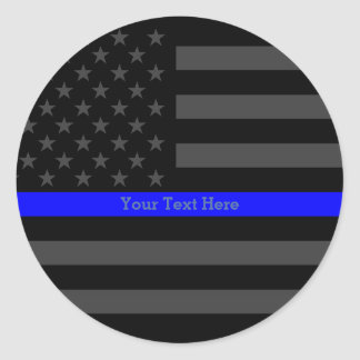 Accent Thin Blue Line Personalized Black US Flag Classic Round Sticker