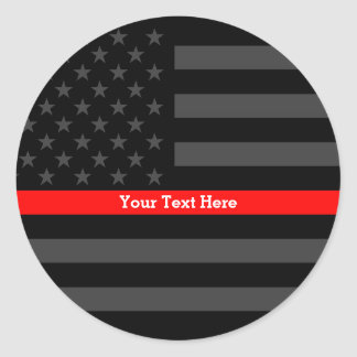 Accent Thin Red Line Personalized Black US Flag Classic Round Sticker