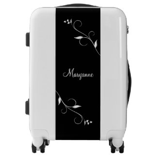 Accent Vines Black and White Personalized Luggage