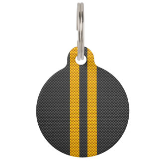 Accent Yellow Racing Stripes Carbon Fiber Style Pet Name Tag