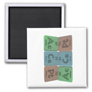 Accept-Ac-Ce-Pt-Actinium-Cerium-Platinum 2 Inch Square Magnet