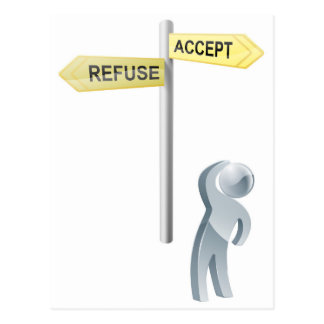 Accept or refuse choice post card