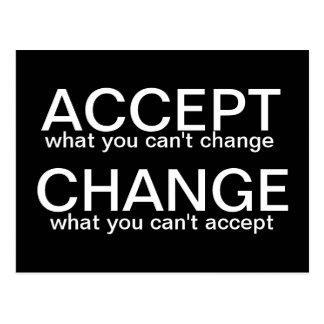 Accept vs Change - motivational postcard