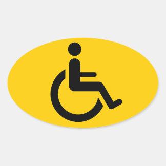 Acceso de la silla de ruedas - símbolo de la silla pegatina ovalada