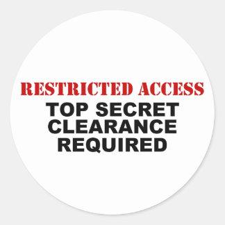 Acceso restricto pegatina redonda