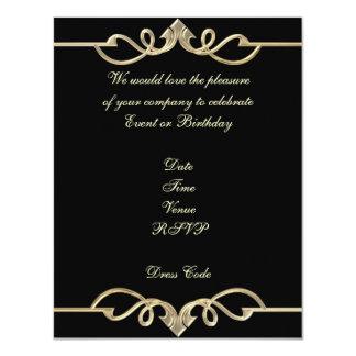 Accesorio de oro elegante del negro del cumpleaños invitaciones personales