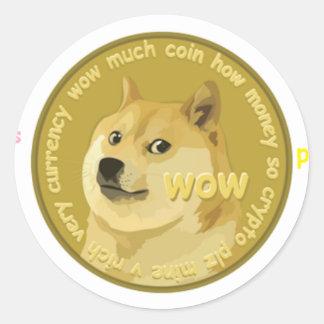 Accesorios de Dogecoin el Shiba hablador Inu Pegatina Redonda
