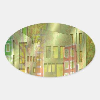 Accesorios imponentes del arte del paisaje urbano pegatina ovalada