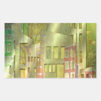 Accesorios imponentes del arte del paisaje urbano pegatina rectangular