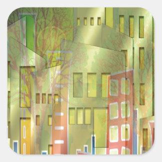 Accesorios imponentes del arte del paisaje urbano pegatina cuadrada