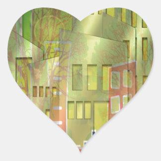 Accesorios imponentes del arte del paisaje urbano pegatina en forma de corazón