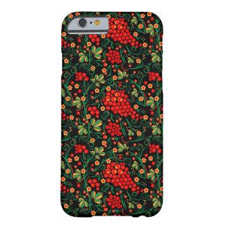 Accesorios rojos del diseño de Khokhloma del ruso Funda De iPhone 6 Barely There