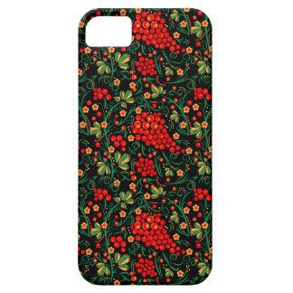 Accesorios rojos del móvil del diseño de Khokhloma iPhone 5 Case-Mate Carcasas