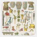 Accesorios romanos pegatina cuadrada