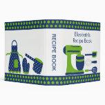 Accesorios verde y azul de la cocina de la carpeta