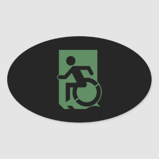 Accessible Means of Egress Icon Exit Sign Oval Sticker