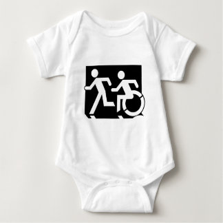 Accessible Means of Egress Icon Running Man Exit Baby Bodysuit