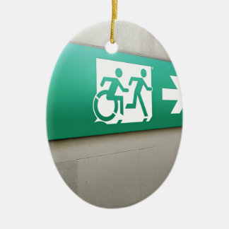 Accessible Means of Egress Icon Running Man Exit Ceramic Ornament