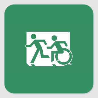 Accessible Means of Egress Icon Running Man Sign Square Sticker