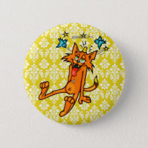 Accident Prone Cartoon Cat Pinback Button