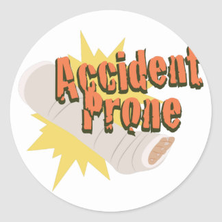 Accident Prone Leg Classic Round Sticker
