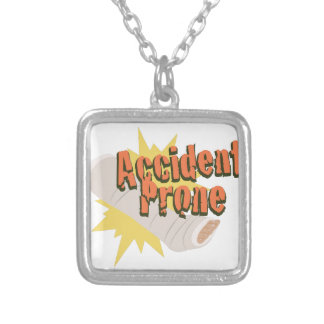 Accident Prone Leg Silver Plated Necklace