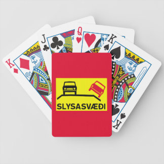 Accident Risk Area, Traffic Sign, Iceland Bicycle Playing Cards