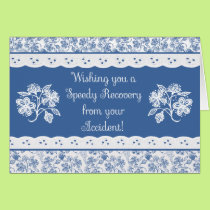 Accident Speedy Recovery Floral Faux Lace Card
